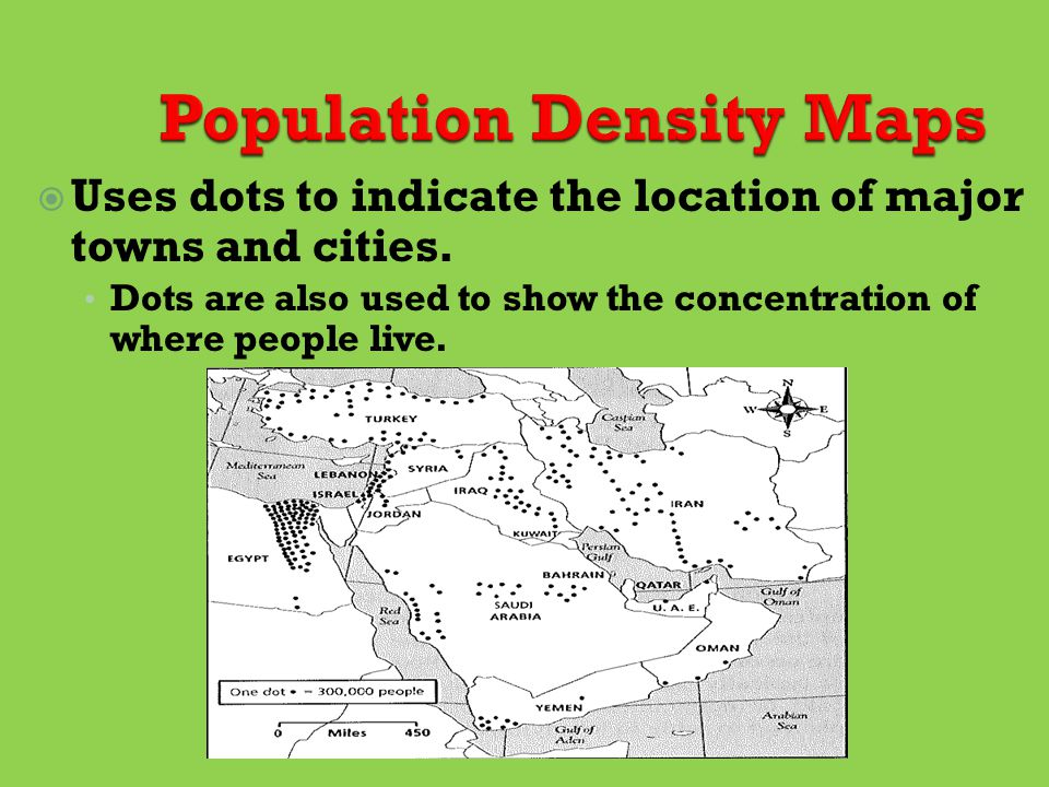  Uses dots to indicate the location of major towns and cities.