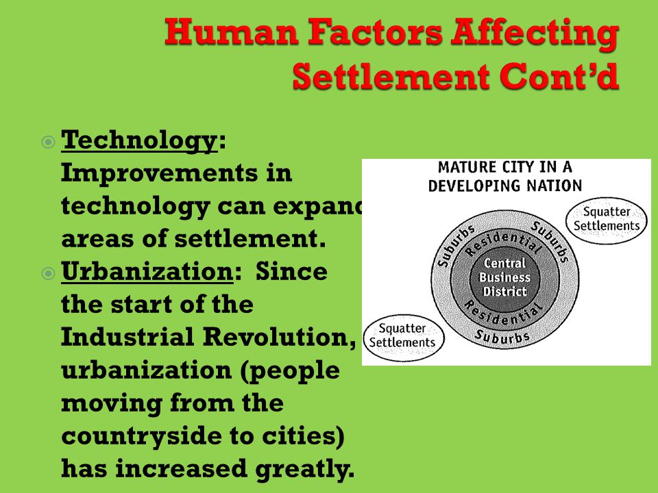  Technology: Improvements in technology can expand areas of settlement.