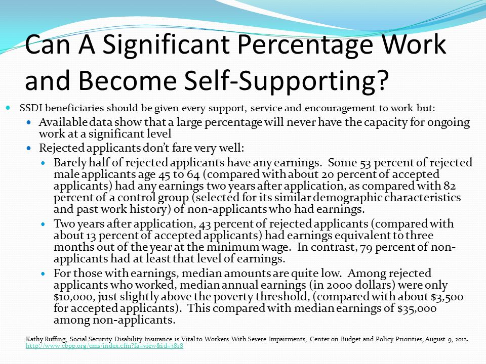 Can A Significant Percentage Work and Become Self-Supporting.