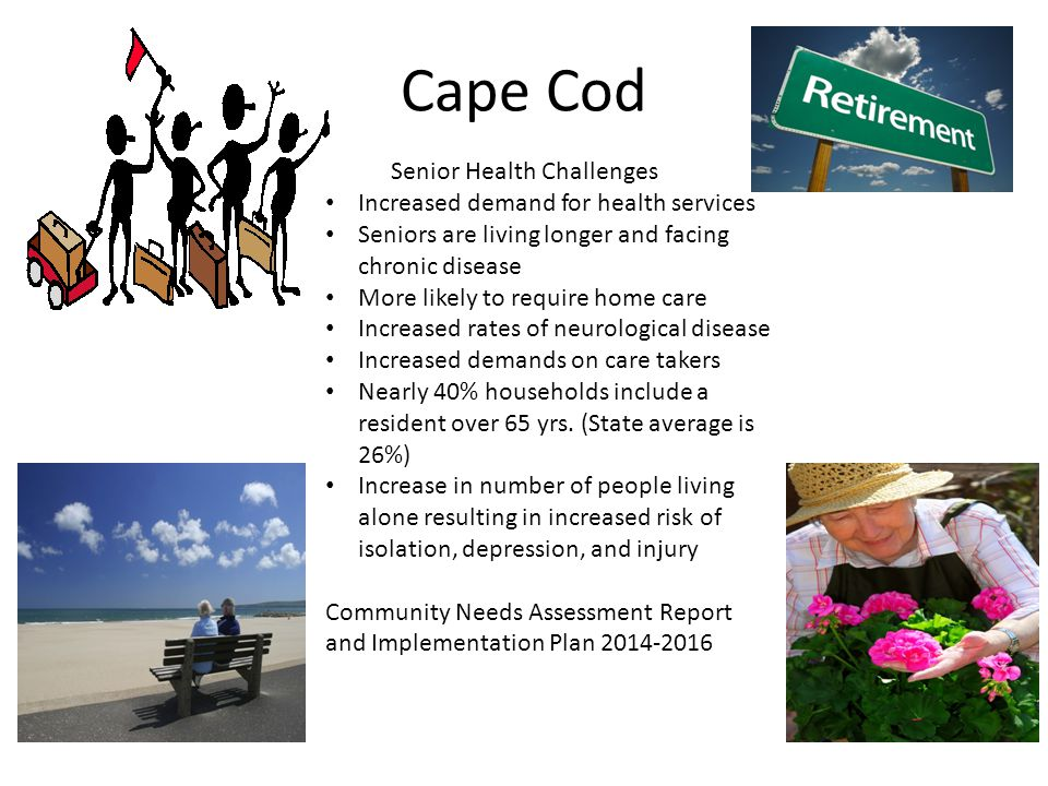 Cape Cod Senior Health Challenges Increased demand for health services Seniors are living longer and facing chronic disease More likely to require home care Increased rates of neurological disease Increased demands on care takers Nearly 40% households include a resident over 65 yrs.