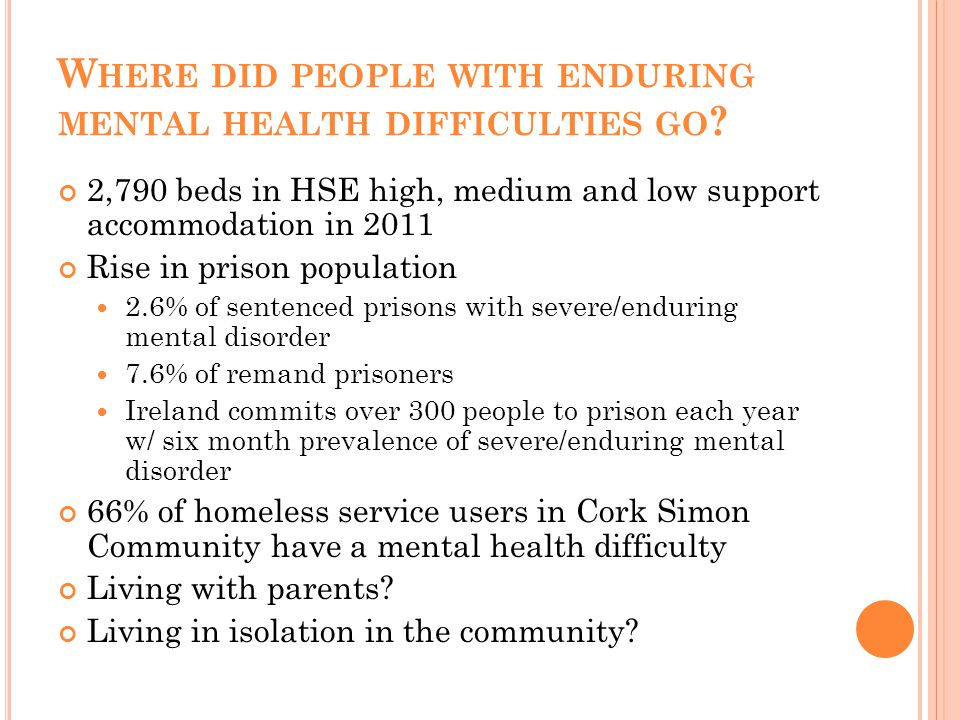 W HERE DID PEOPLE WITH ENDURING MENTAL HEALTH DIFFICULTIES GO .