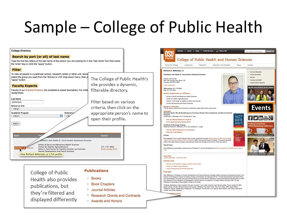 Sample – School of Writing, Lit, & Film WLF's directory uses the same view as College of Public Health's, with an override on the grouping.