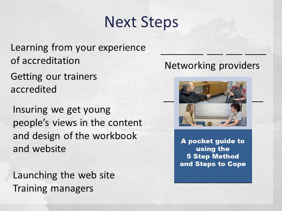 Next Steps Learning from your experience of accreditation Getting our trainers accredited ________ ___ ___ ____ ________ __________ _________ Networking providers Insuring we get young people's views in the content and design of the workbook and website Launching the web site Training managers