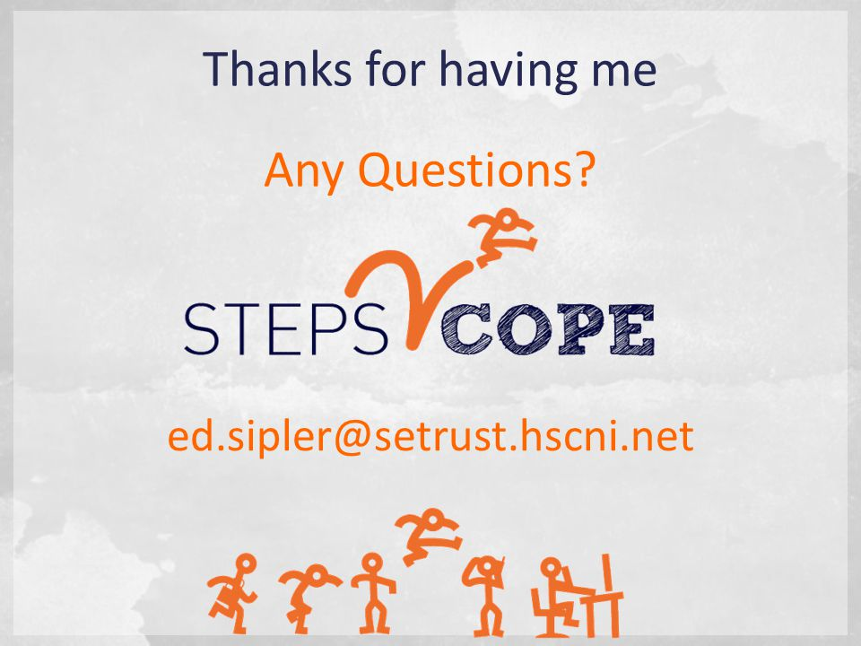 ed.sipler@setrust.hscni.net Thanks for having me Any Questions