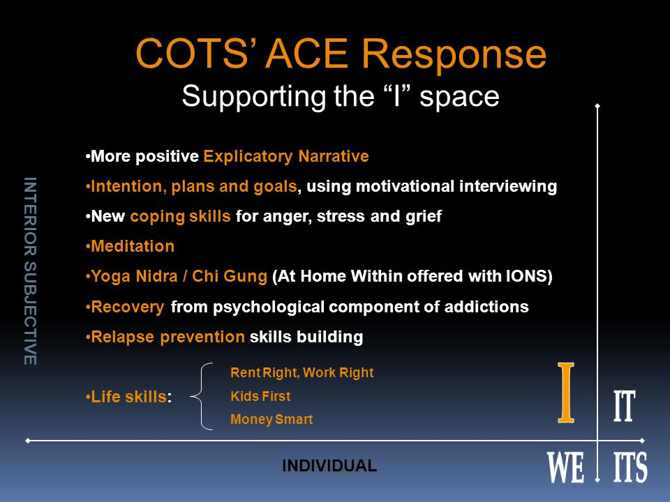 COTS' ACE Response Supporting the I space More positive Explicatory Narrative Intention, plans and goals, using motivational interviewing New coping skills for anger, stress and grief Meditation Yoga Nidra / Chi Gung (At Home Within offered with IONS) Recovery from psychological component of addictions Relapse prevention skills building Life skills: Rent Right, Work Right Kids First Money Smart INTERIOR SUBJECTIVE INDIVIDUAL