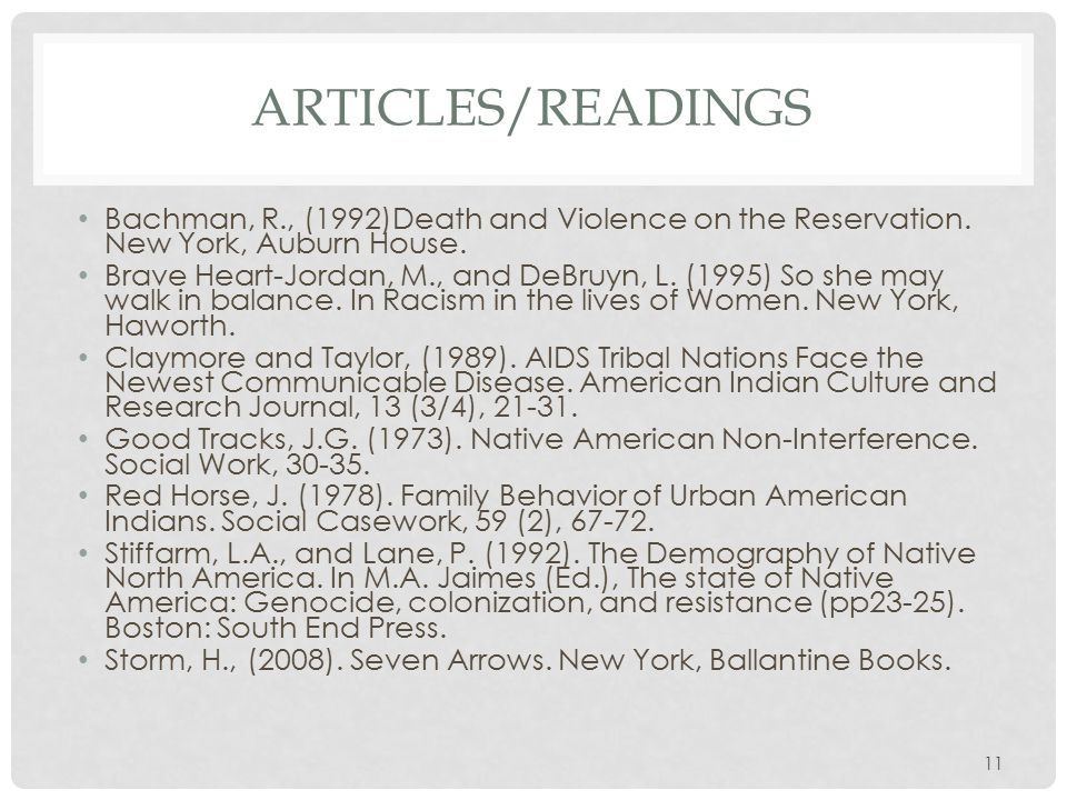 ARTICLES/READINGS Bachman, R., (1992)Death and Violence on the Reservation.