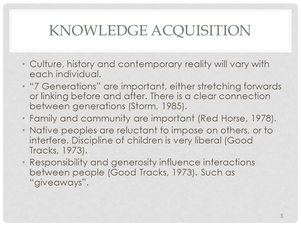 KNOWLEDGE ACQUISITION Culture, history and contemporary reality will vary with each individual.