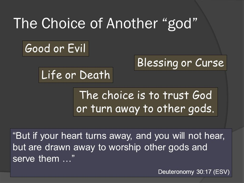 The Choice of Another god Good or Evil Blessing or Curse Life or Death The choice is to trust God or turn away to other gods.