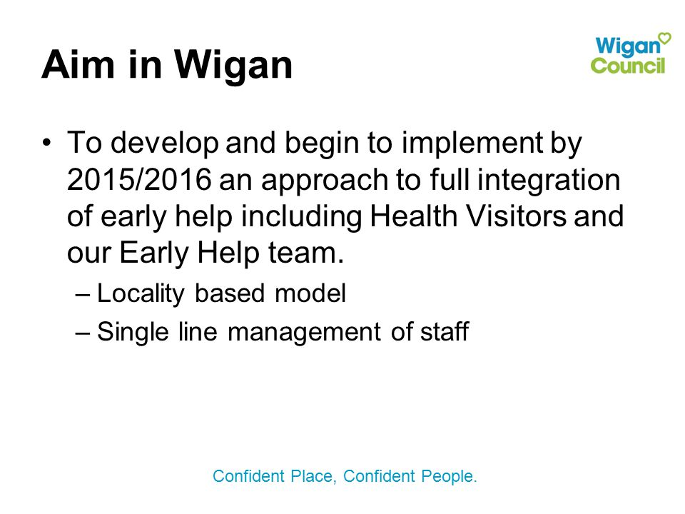 Aim in Wigan To develop and begin to implement by 2015/2016 an approach to full integration of early help including Health Visitors and our Early Help