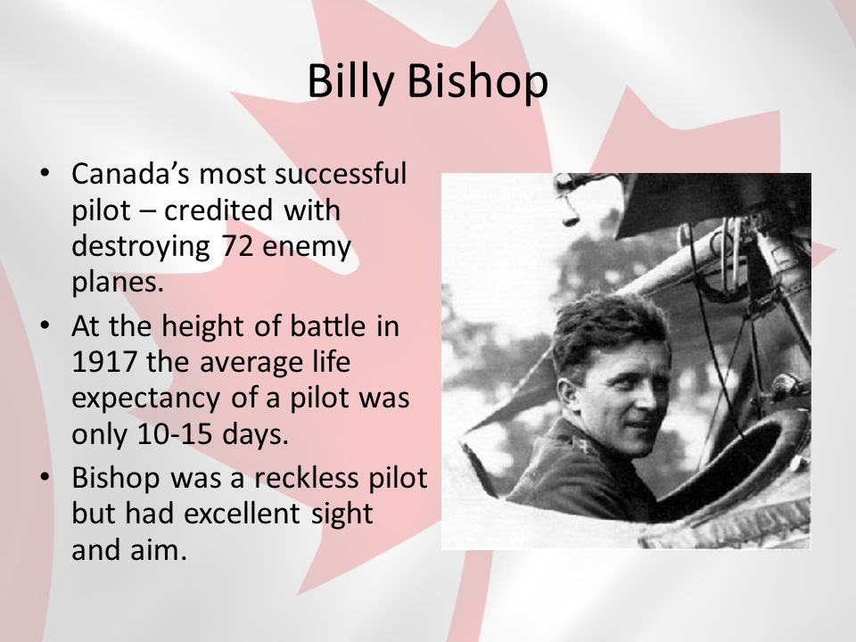 Billy Bishop Canada's most successful pilot – credited with destroying 72 enemy planes.