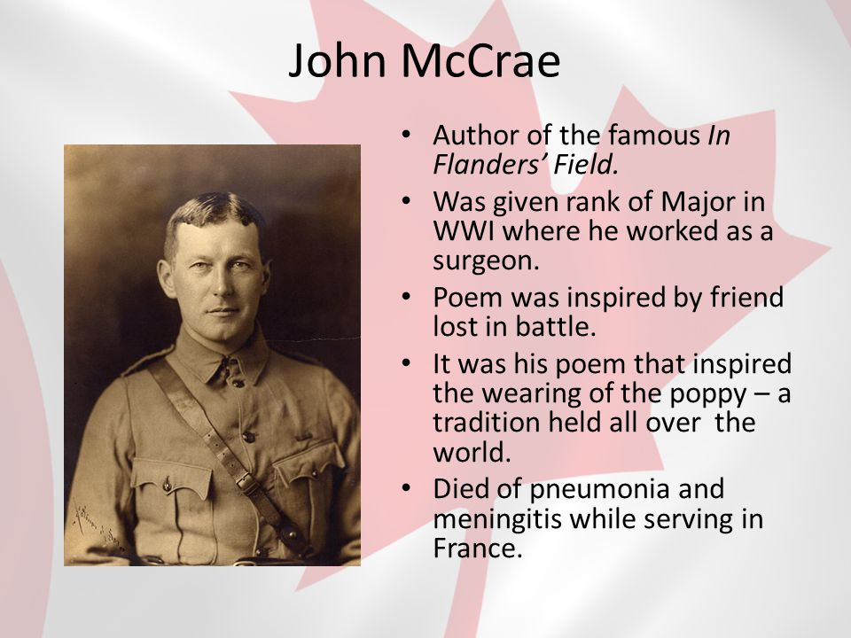 John McCrae Author of the famous In Flanders' Field.