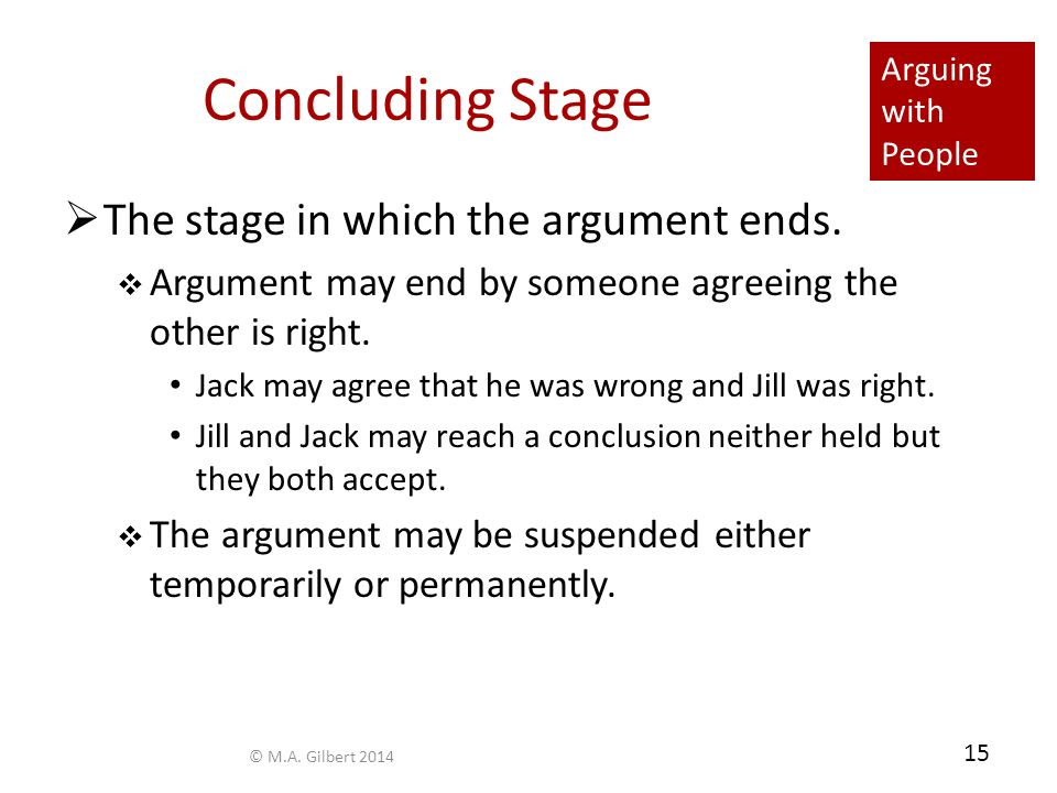 Arguing with People 15 Concluding Stage  The stage in which the argument ends.
