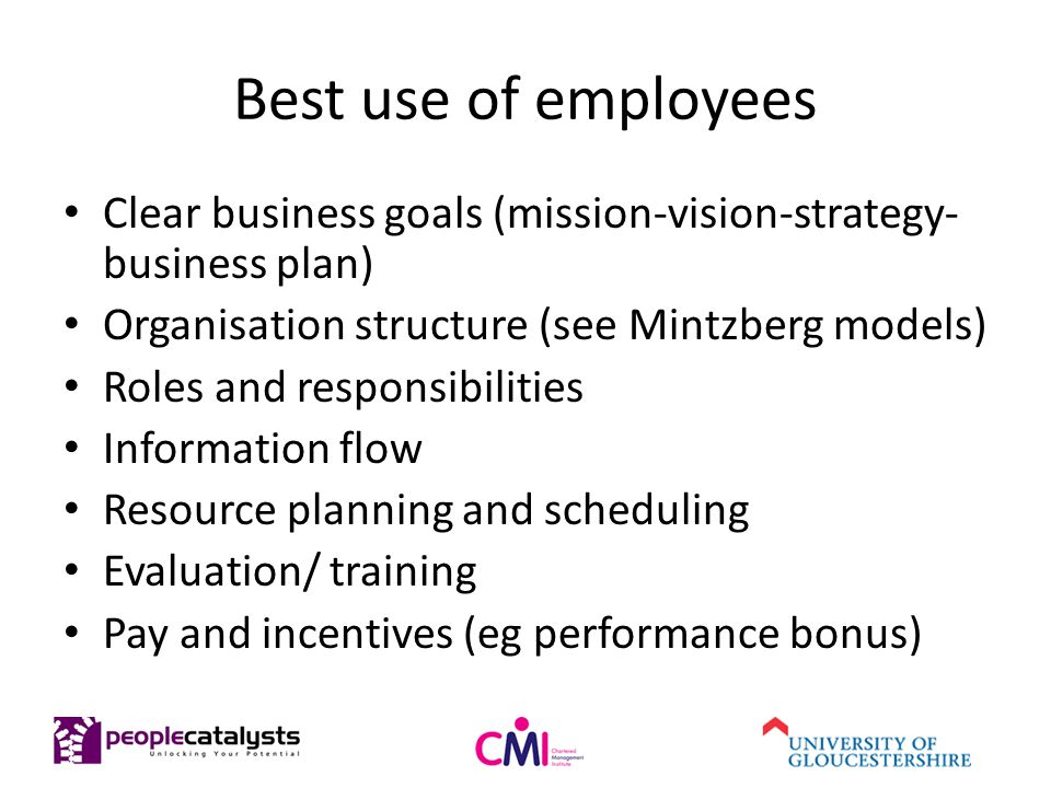 Best use of employees Clear business goals (mission-vision-strategy- business plan) Organisation structure (see Mintzberg models) Roles and responsibilities Information flow Resource planning and scheduling Evaluation/ training Pay and incentives (eg performance bonus)