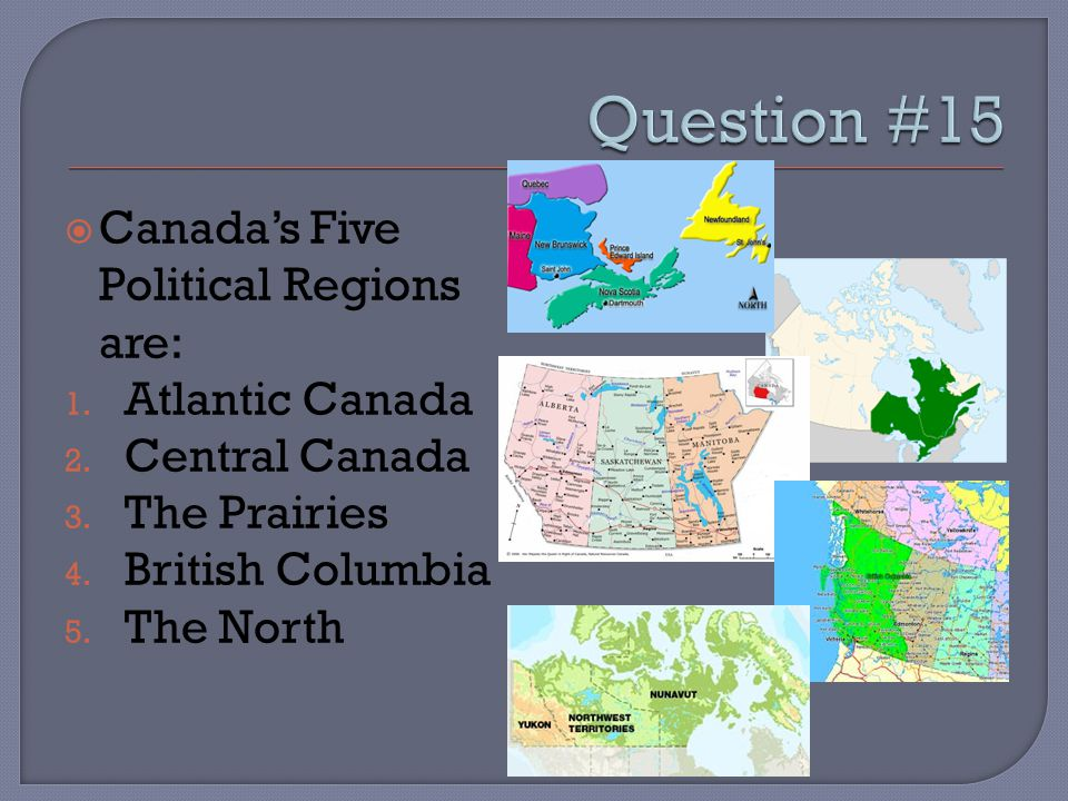  Canada's Five Political Regions are: 1. Atlantic Canada 2.