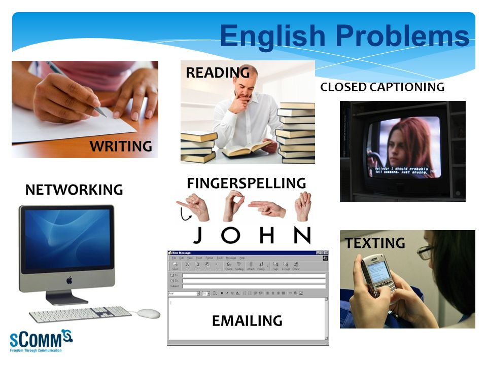 24 English Problems WRITING READING CLOSED CAPTIONING TEXTING FINGERSPELLING EMAILING NETWORKING