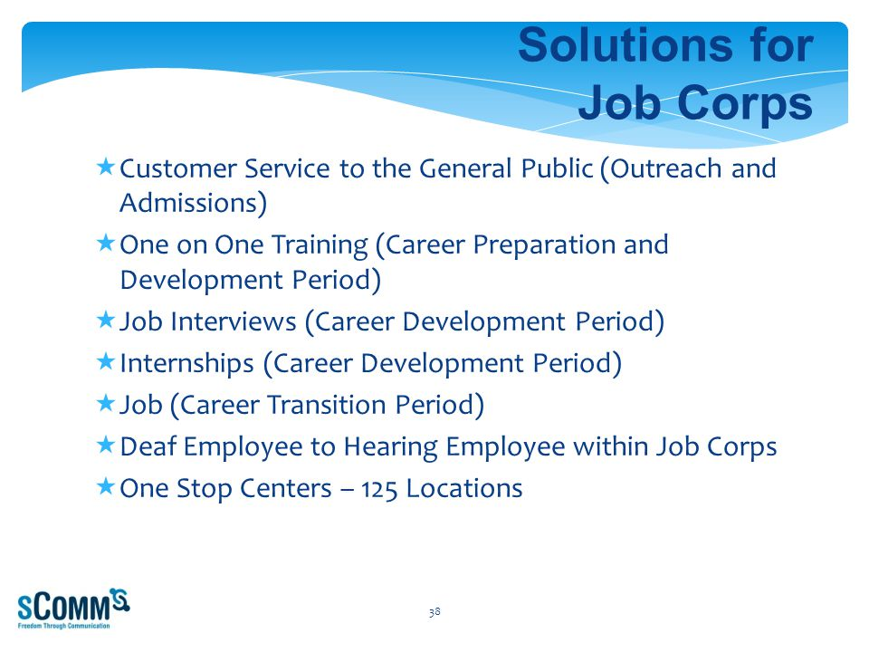 Solutions for Job Corps  Customer Service to the General Public (Outreach and Admissions)  One on One Training (Career Preparation and Development Period)  Job Interviews (Career Development Period)  Internships (Career Development Period)  Job (Career Transition Period)  Deaf Employee to Hearing Employee within Job Corps  One Stop Centers – 125 Locations 38
