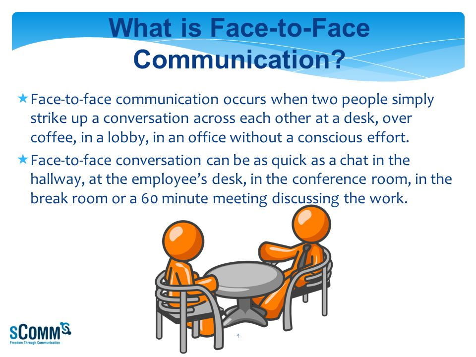  Face-to-face communication occurs when two people simply strike up a conversation across each other at a desk, over coffee, in a lobby, in an office without a conscious effort.