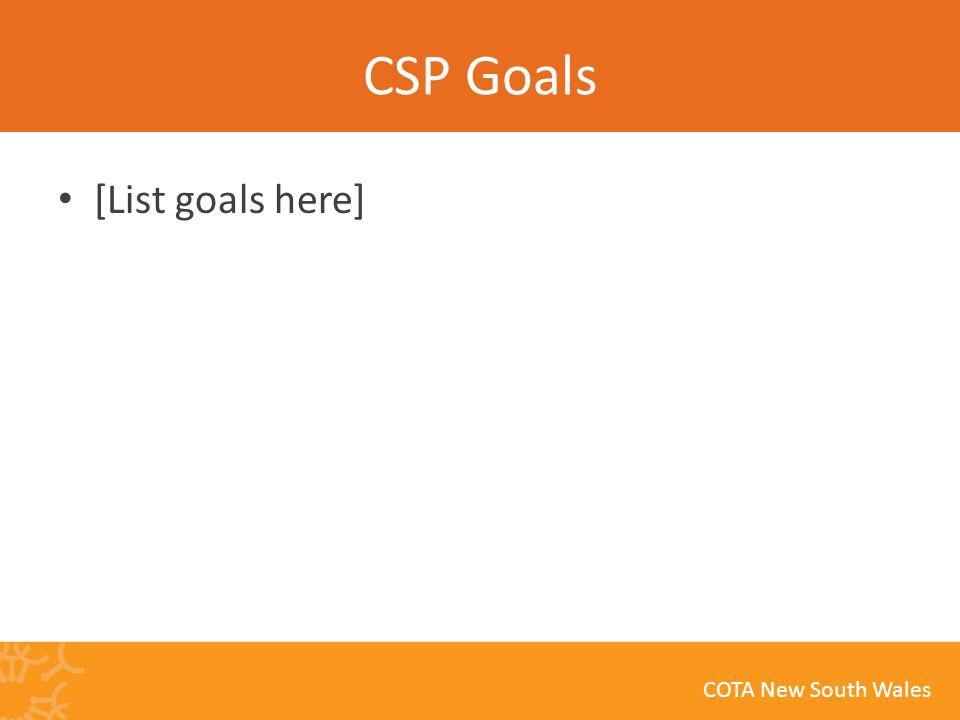COTA New South Wales CSP Goals [List goals here]