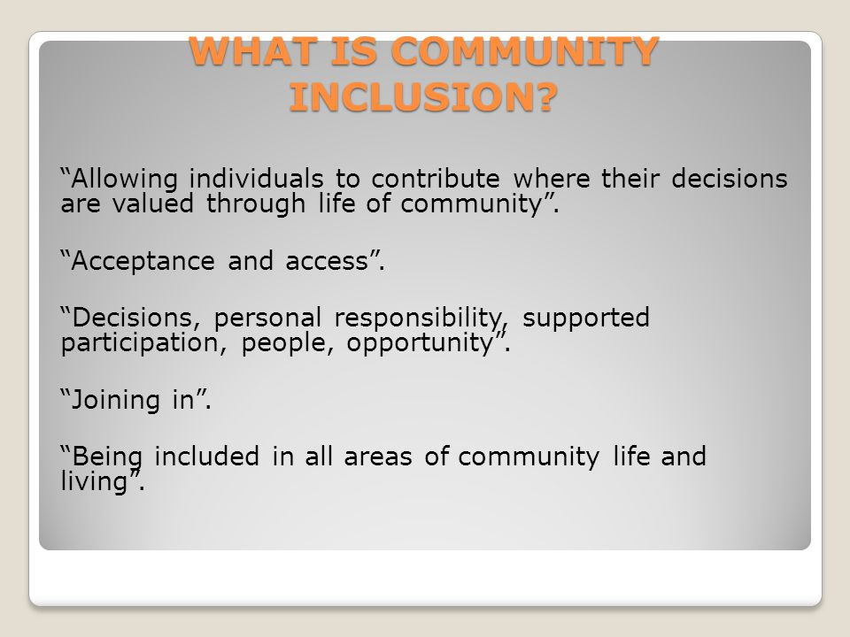WHAT IS COMMUNITY INCLUSION.