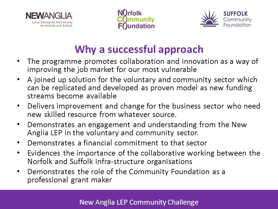 Why a successful approach The programme promotes collaboration and innovation as a way of improving the job market for our most vulnerable A joined up solution for the voluntary and community sector which can be replicated and developed as proven model as new funding streams become available Delivers improvement and change for the business sector who need new skilled resource from whatever source.