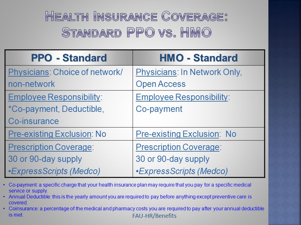 PPO - Standard HMO - Standard Physicians: Choice of network/ non-network Physicians: In Network Only, Open Access Employee Responsibility: *Co-payment