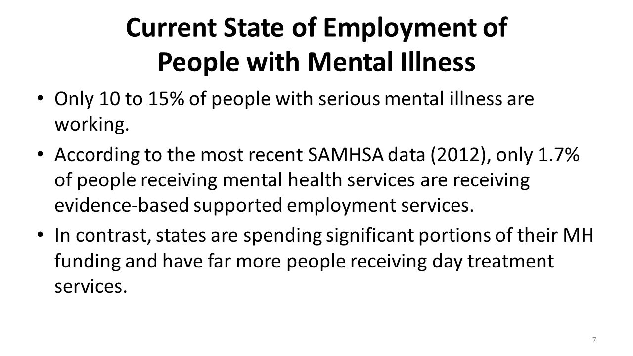 Current State of Employment of People with Mental Illness Only 10 to 15% of people with serious mental illness are working. According to the most rece