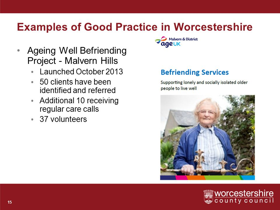 Examples of Good Practice in Worcestershire Ageing Well Befriending Project - Malvern Hills Launched October 2013 50 clients have been identified and