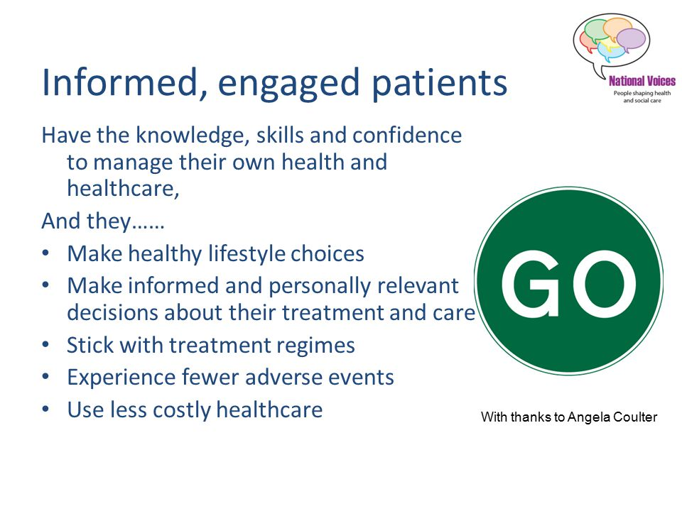Informed, engaged patients Have the knowledge, skills and confidence to manage their own health and healthcare, And they…… Make healthy lifestyle choices Make informed and personally relevant decisions about their treatment and care Stick with treatment regimes Experience fewer adverse events Use less costly healthcare With thanks to Angela Coulter