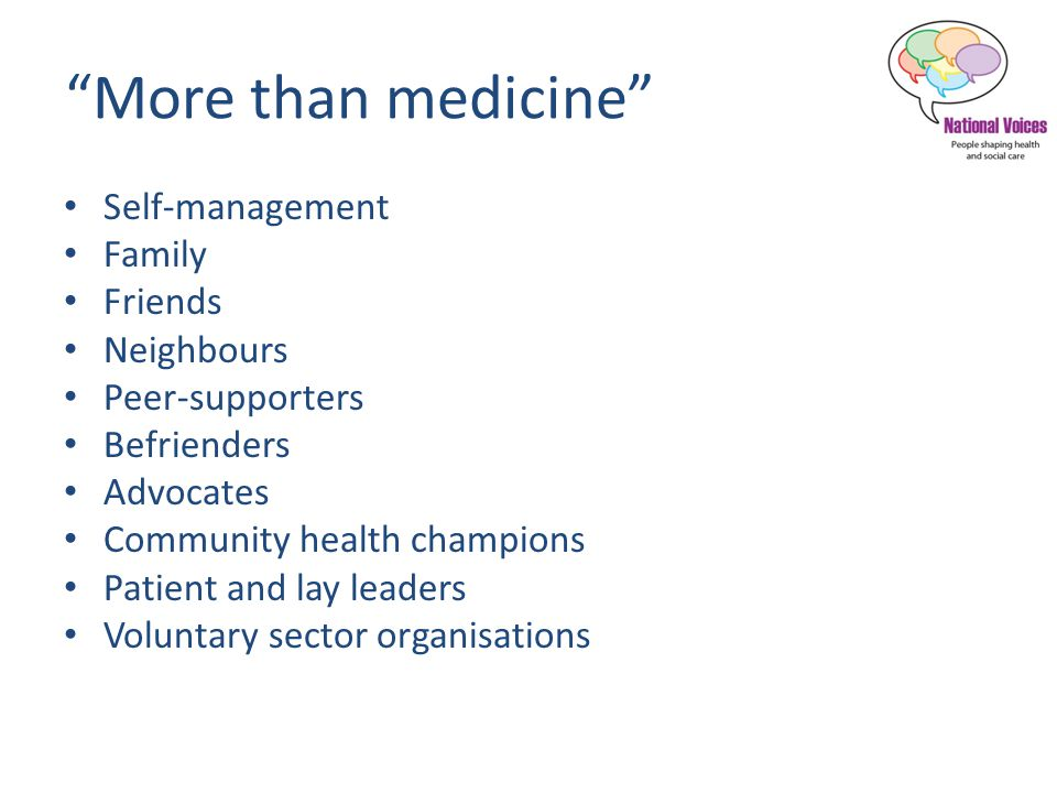 More than medicine Self-management Family Friends Neighbours Peer-supporters Befrienders Advocates Community health champions Patient and lay leaders Voluntary sector organisations