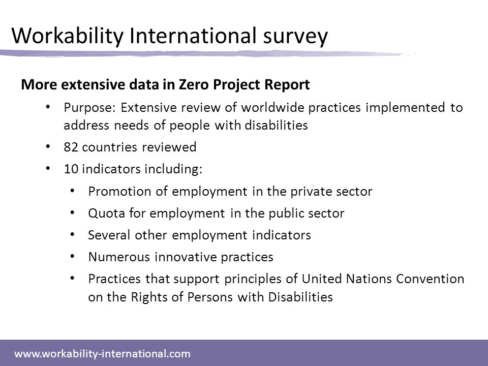 www.workability-international.com More extensive data in Zero Project Report Purpose: Extensive review of worldwide practices implemented to address needs of people with disabilities 82 countries reviewed 10 indicators including: Promotion of employment in the private sector Quota for employment in the public sector Several other employment indicators Numerous innovative practices Practices that support principles of United Nations Convention on the Rights of Persons with Disabilities Workability International survey