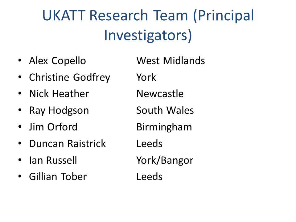 UKATT Research Team (Principal Investigators) Alex Copello West Midlands Christine GodfreyYork Nick HeatherNewcastle Ray HodgsonSouth Wales Jim Orford