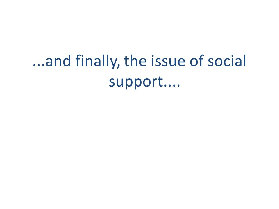 ...and finally, the issue of social support....