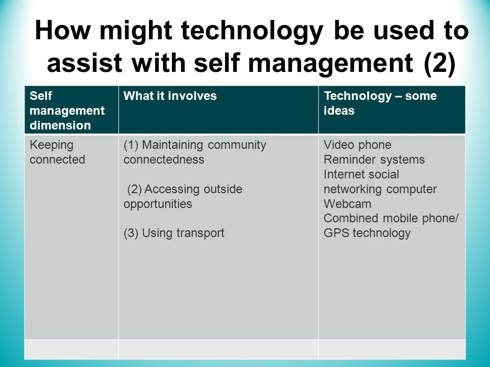 How might technology be used to assist with self management (2) Self management dimension What it involvesTechnology – some ideas Keeping connected (1) Maintaining community connectedness (2) Accessing outside opportunities (3) Using transport Video phone Reminder systems Internet social networking computer Webcam Combined mobile phone/ GPS technology