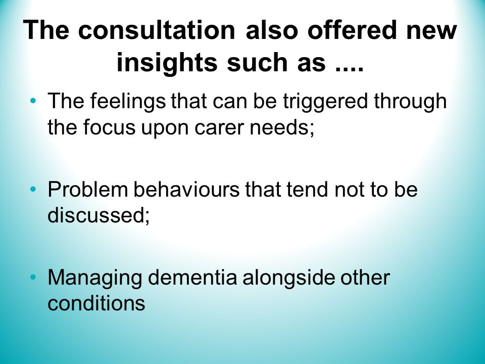 The consultation also offered new insights such as....