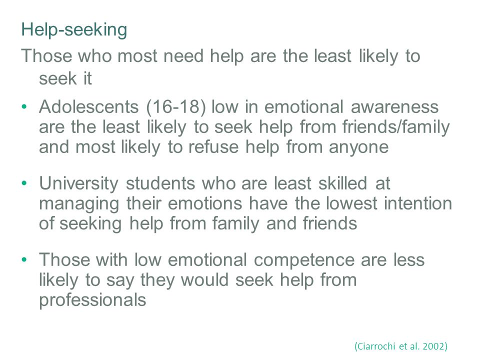 Help-seeking Those who most need help are the least likely to seek it Adolescents (16-18) low in emotional awareness are the least likely to seek help from friends/family and most likely to refuse help from anyone University students who are least skilled at managing their emotions have the lowest intention of seeking help from family and friends Those with low emotional competence are less likely to say they would seek help from professionals (Ciarrochi et al.