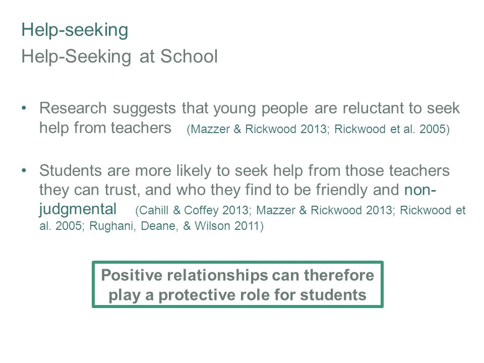 Help-seeking Help-Seeking at School Research suggests that young people are reluctant to seek help from teachers (Mazzer & Rickwood 2013; Rickwood et al.