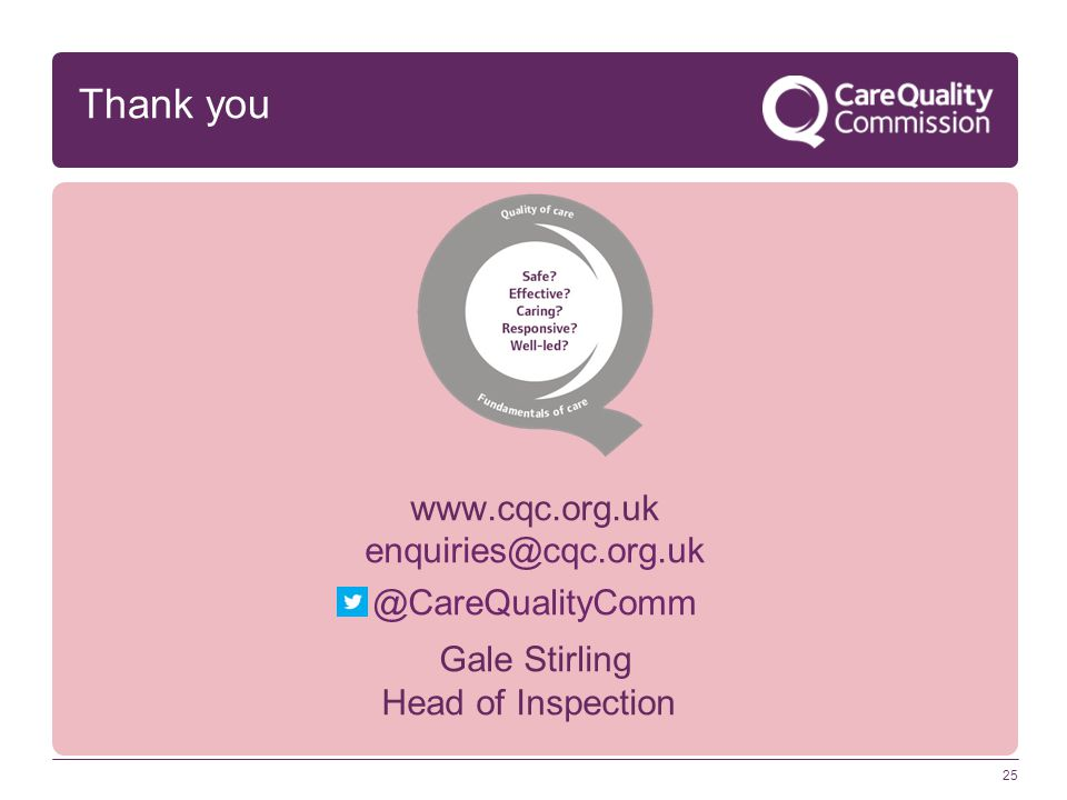 www.cqc.org.uk enquiries@cqc.org.uk @CareQualityComm Gale Stirling Head of Inspection 25 Thank you