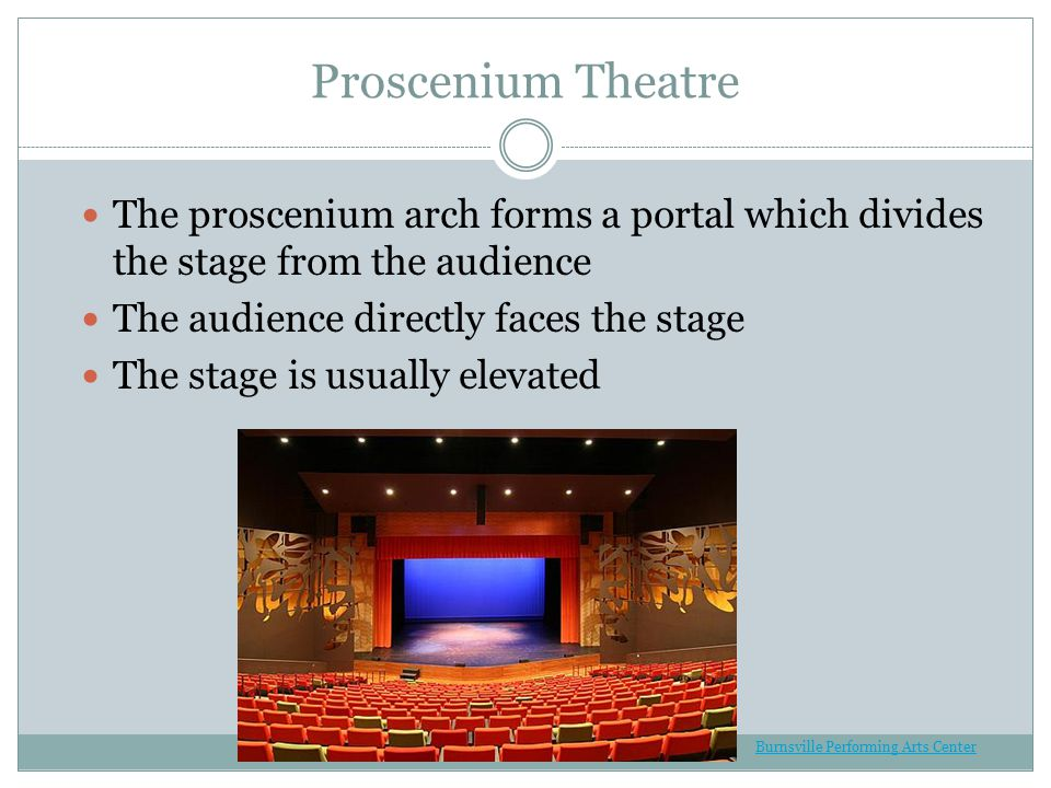Proscenium Theatre The proscenium arch forms a portal which divides the stage from the audience The audience directly faces the stage The stage is usually elevated Burnsville Performing Arts Center