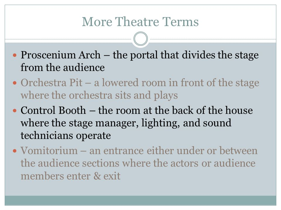 More Theatre Terms Proscenium Arch – the portal that divides the stage from the audience Orchestra Pit – a lowered room in front of the stage where th