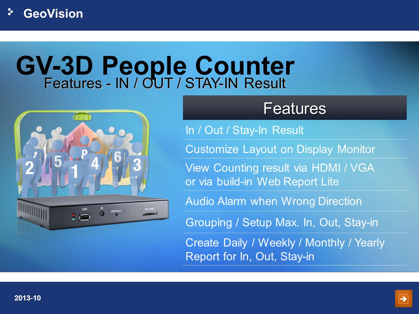 GeoVision 2013-10 GV-3D People Counter Features - IN / OUT / STAY-IN Result Features In / Out / Stay-In Result Customize Layout on Display Monitor View Counting result via HDMI / VGA or via build-in Web Report Lite Audio Alarm when Wrong Direction Grouping / Setup Max.
