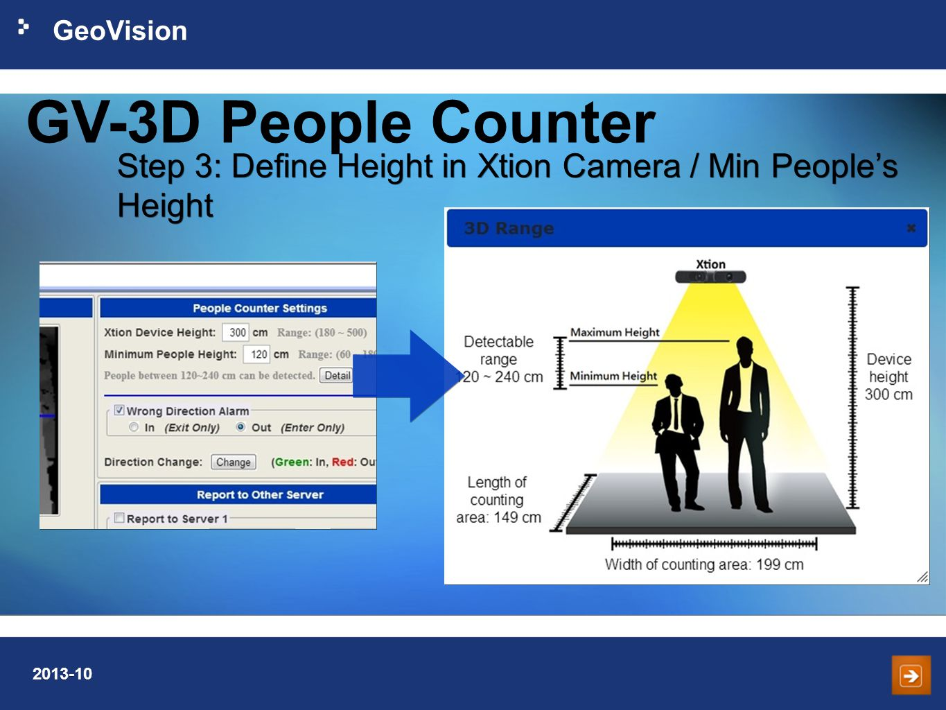 GeoVision 2013-10 Step 3: Define Height in Xtion Camera / Min People's Height GV-3D People Counter