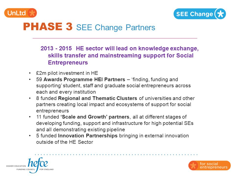 PHASE 3 SEE Change Partners 2013 - 2015HE sector will lead on knowledge exchange, skills transfer and mainstreaming support for Social Entrepreneurs £