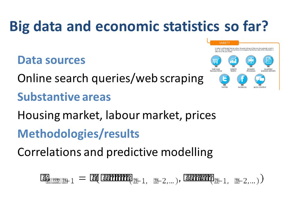 Use of some big data sources for economic statistics 1.Housing market (Google Trends) – Bank of England: McLaren and Schanbhogue (2011) – Wu and Brynjolfsson (2009) 2.Labour/employment market (Google Trends and Word Tracker) – Bank of England: McLaren and Schanbhogue (2011) – D'Amuri and Marcucci (2009) – Askitas (2009) – Ettredge et al.
