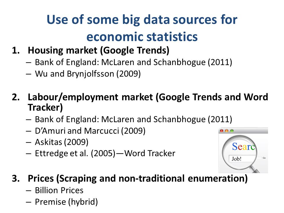 Common points of these studies Compare aggregate trends of online search data against official/administrative statistics Emphasize correlation rather than causality Find that that online search data can predict observed trends within the appropriate lead time (depends on the individuals and area of economic statistics)