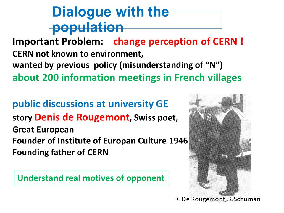 Dialogue with the population Important Problem: change perception of CERN .