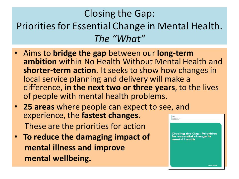 """Closing the Gap: Priorities for Essential Change in Mental Health. The """"What"""" Aims to bridge the gap between our long-term ambition within No Health W"""