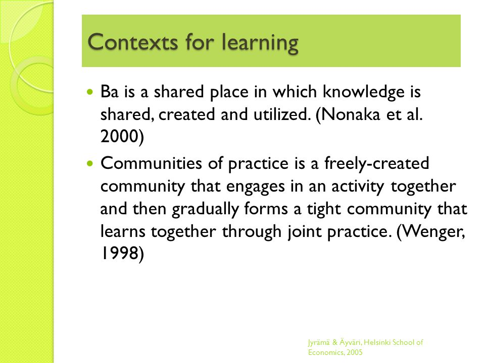 Contexts for learning Ba is a shared place in which knowledge is shared, created and utilized.