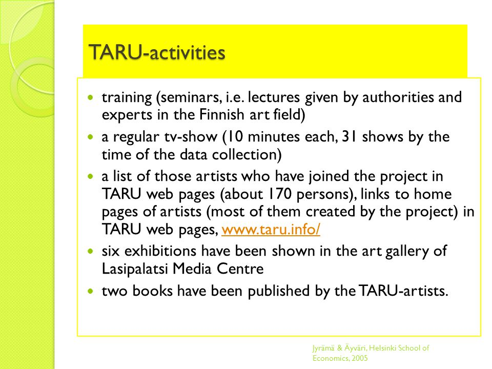 TARU-activities training (seminars, i.e.
