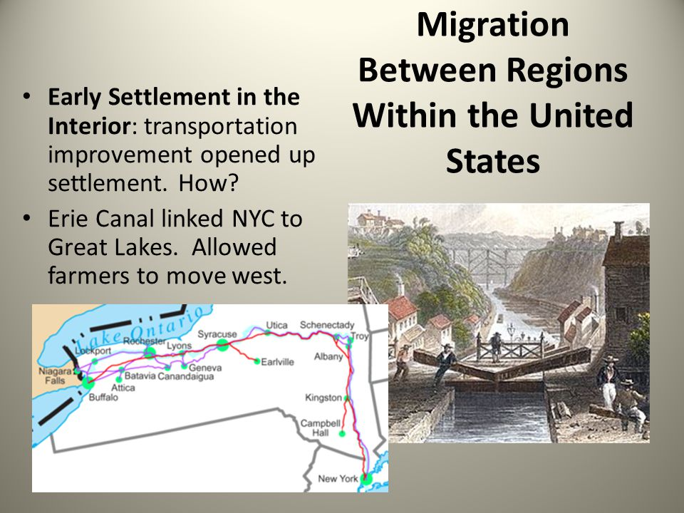 Migration Between Regions Within the United States Early Settlement in the Interior: transportation improvement opened up settlement. How? Erie Canal