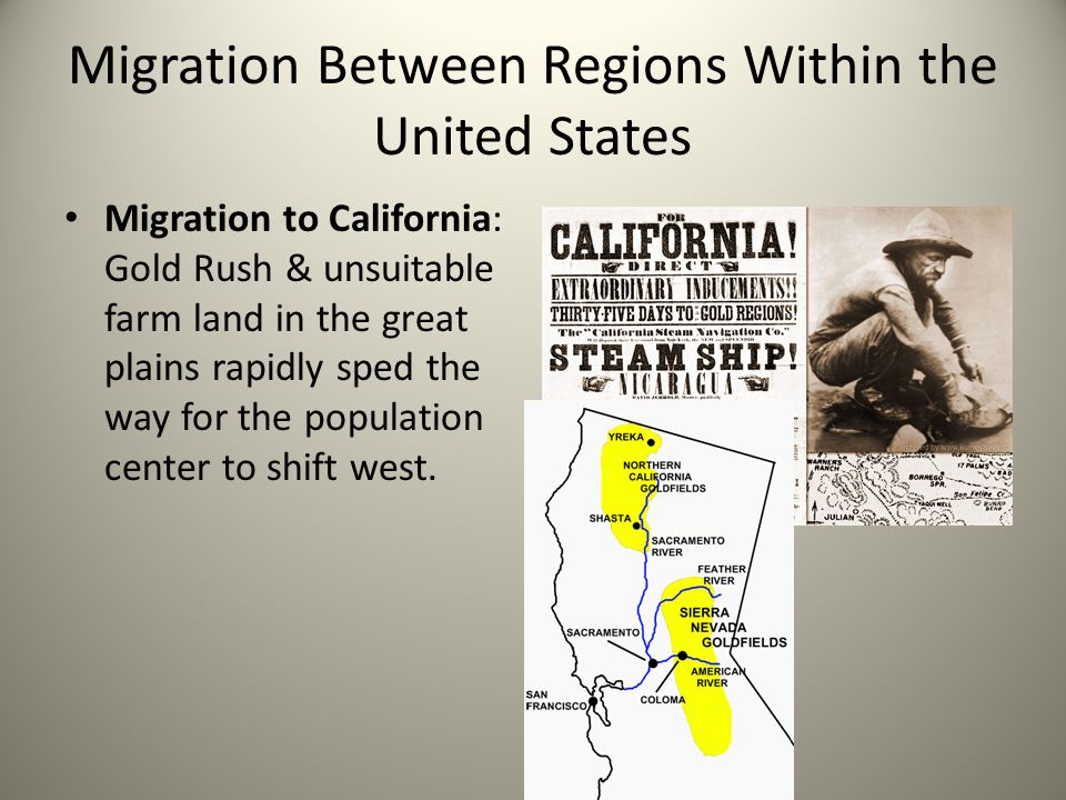 Migration Between Regions Within the United States Migration to California: Gold Rush & unsuitable farm land in the great plains rapidly sped the way for the population center to shift west.